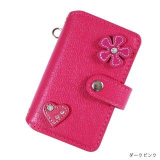 キッズスマホケース / レザー手帳型携帯電話ケース  フルール&ハート KFC6-0005