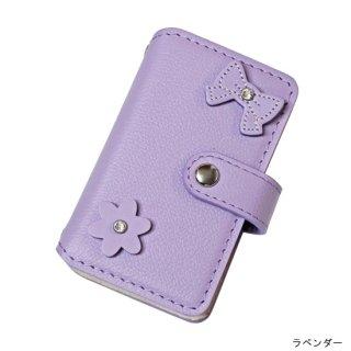 キッズスマホケース / レザー手帳型携帯電話ケース  リボン&フラワー KFC6-0006