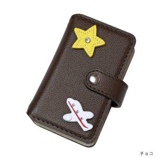 キッズスマホケース / レザー手帳型携帯電話ケース  飛行機&スター KFC6-0008