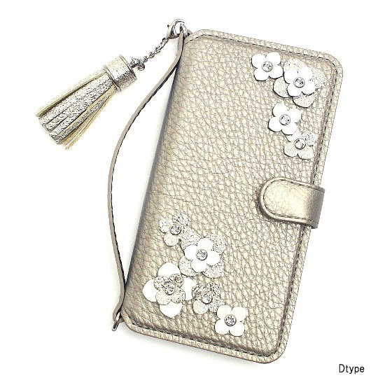 iphone7&6(S) / 7&6(S)plus 手帳型フラップケース  シャンパンパール シュリンクレザー