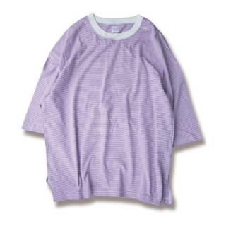 <img class='new_mark_img1' src='https://img.shop-pro.jp/img/new/icons13.gif' style='border:none;display:inline;margin:0px;padding:0px;width:auto;' />Loose border 3/4 sleeve tee(ルーズボーダー7分袖/purple)