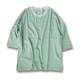 <img class='new_mark_img1' src='https://img.shop-pro.jp/img/new/icons24.gif' style='border:none;display:inline;margin:0px;padding:0px;width:auto;' />Loose border 3/4 sleeve tee(ルーズボーダー7分袖/green)