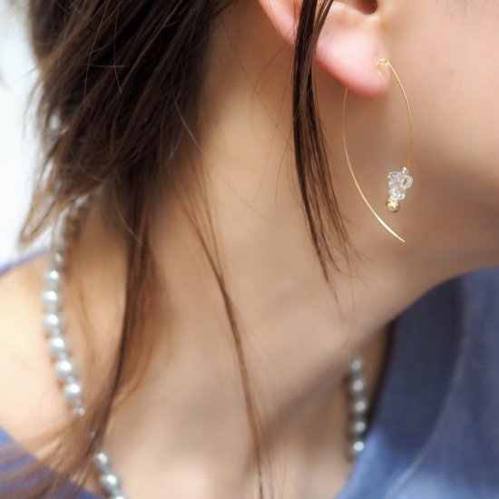 イヤリング(ノンホールピアス)14kgf&ハーキマーダイヤモンド