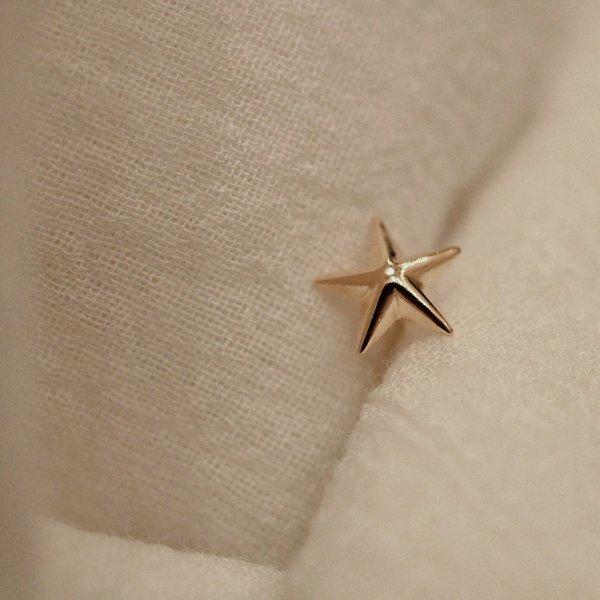 (1piece)18kピアス「星」