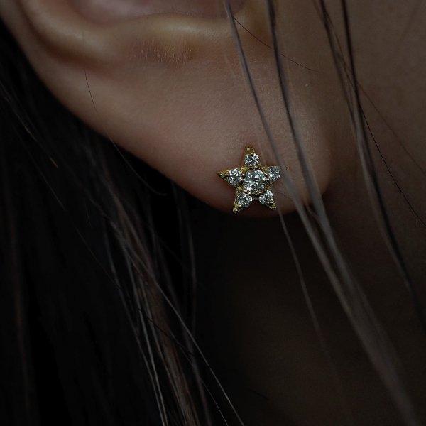 (1 件) 18k 星星钻石耳环 预留