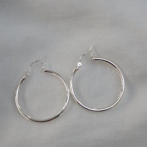 银色 925 圈式耳环 M 耳环单独出售