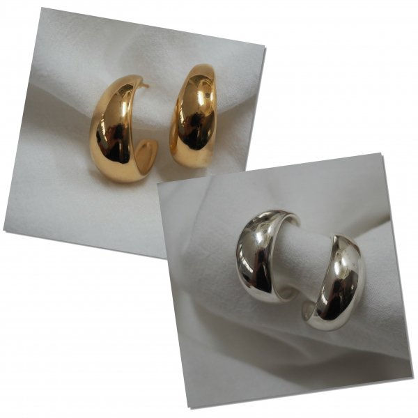 (一对特价)银925制成的NewMoon耳环(请选择穿孔耳环或耳环颜色*金色为加费)