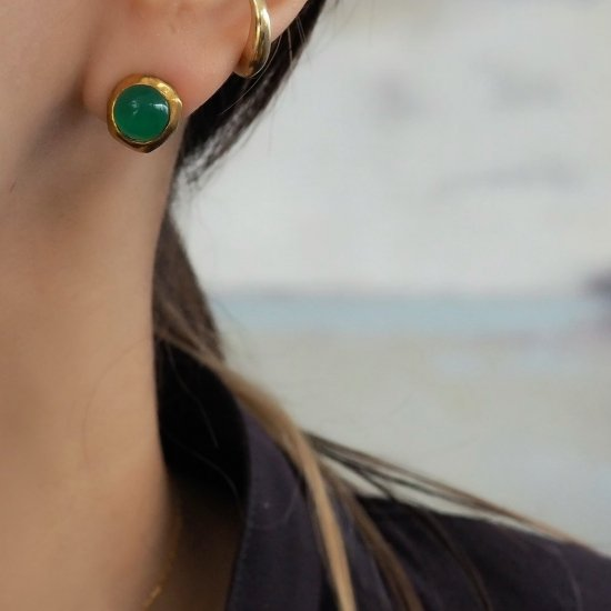 Gold Type 209 Green Onyx (เจาะต่างหูหรือต่างหู)