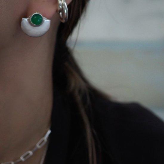 Silver Type Que Green Onyx (ต่างหูเจาะหรือต่างหู)