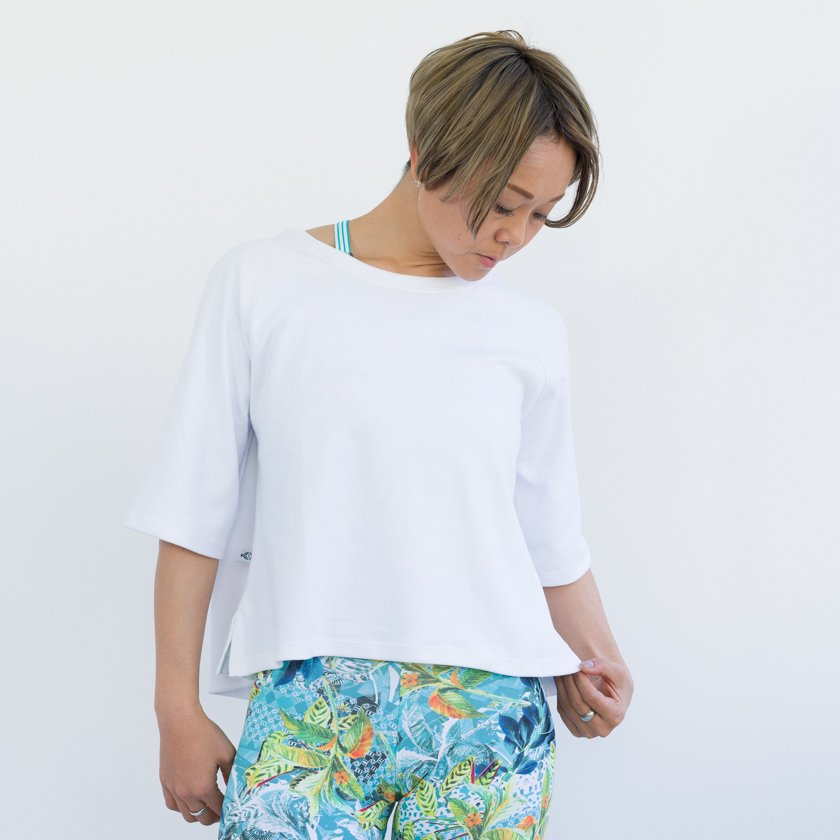 コットン七分袖Tシャツ ホワイト