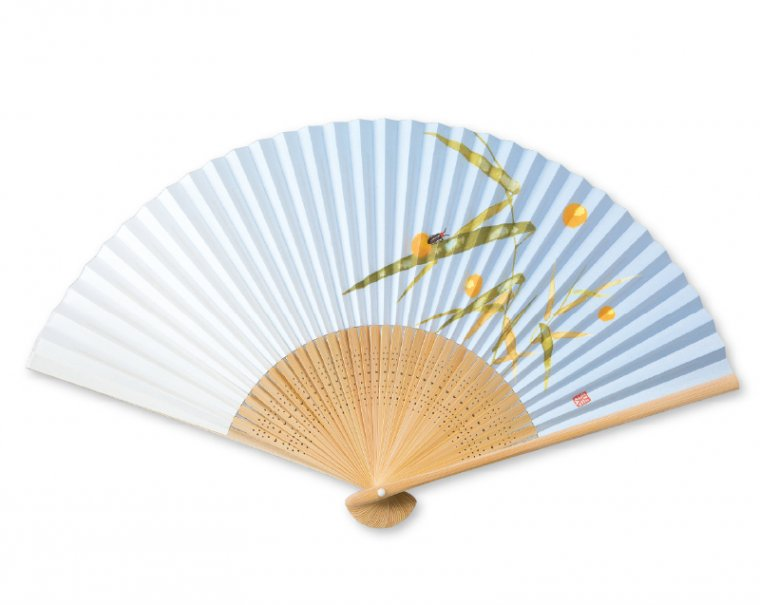 2017年【名入れ 無印 30本から】FU-5701 白竹中彫 芦にホタル 紙扇子 紳士用
