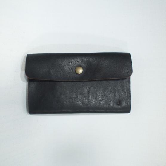 1枚革のカード入れ ブラック つや消し メインイメージ