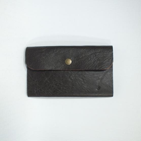 1枚革のカード入れ ダークブラウン 艶なし メインイメージ