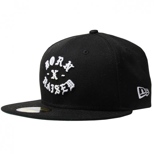 BORN X RAISED NEW ERA FITTED ROCKER(Black)
