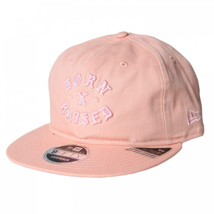 BORN X RAISED TONAL ROCKER DAD HAT(Pink)