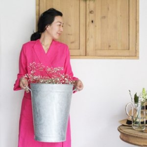 Limited ROBE COAT<Irish linen/magenta・grey>