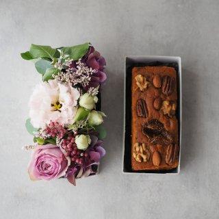 【生花】BOXアレンジとケーキのセット Pink×Purple(ピンク・パープル系)