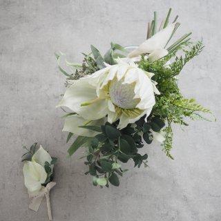 """【シルクフラワー】クラッチブーケ&ブートニア """"White Protea"""""""