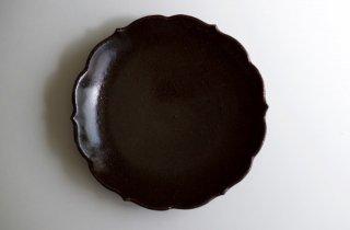 黒釉稜花皿 7寸