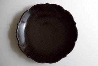 黒釉稜花皿 6寸