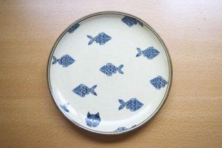 8寸皿 魚と猫