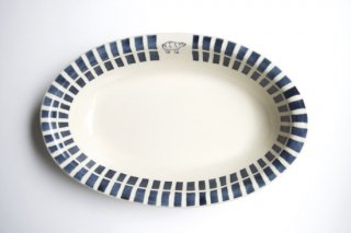 ブルーライン シロクマ オーバル鉢