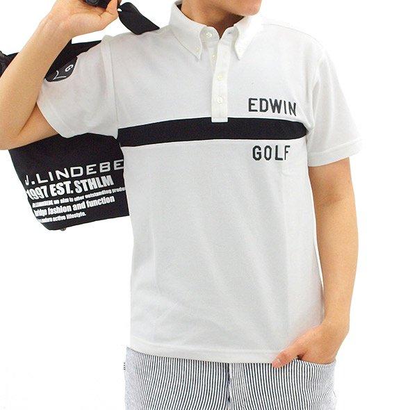 エドウィンゴルフ 半袖トップス EW 高機能◆ヨコ切替えカノコポロ