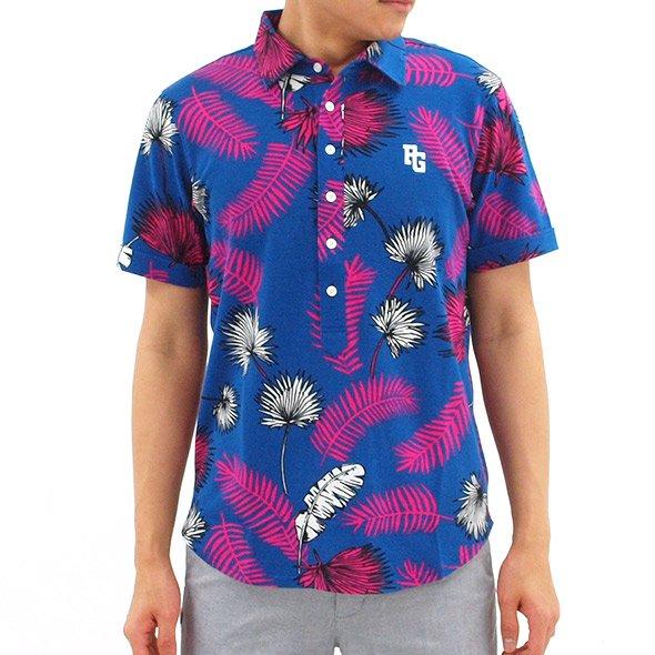 パーリーゲイツ PG リーフプリント半袖カットシャツ