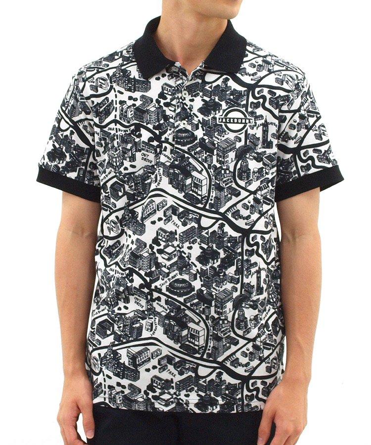 ジャックバニー 半袖ポロシャツ・シャツ JB モノトーンマップ柄ポロ