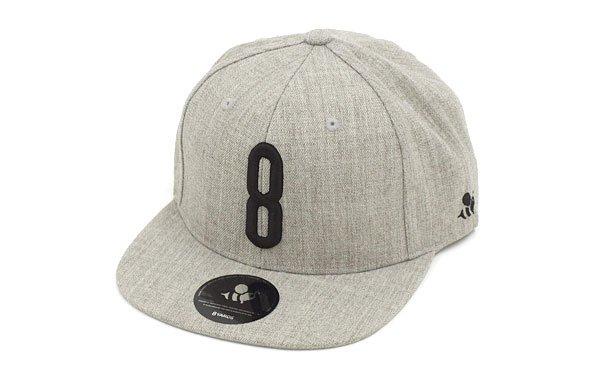 ハチヤード ヘッドウェア YA 「8」ロゴ刺繍♪平つばキャップ(グレー)
