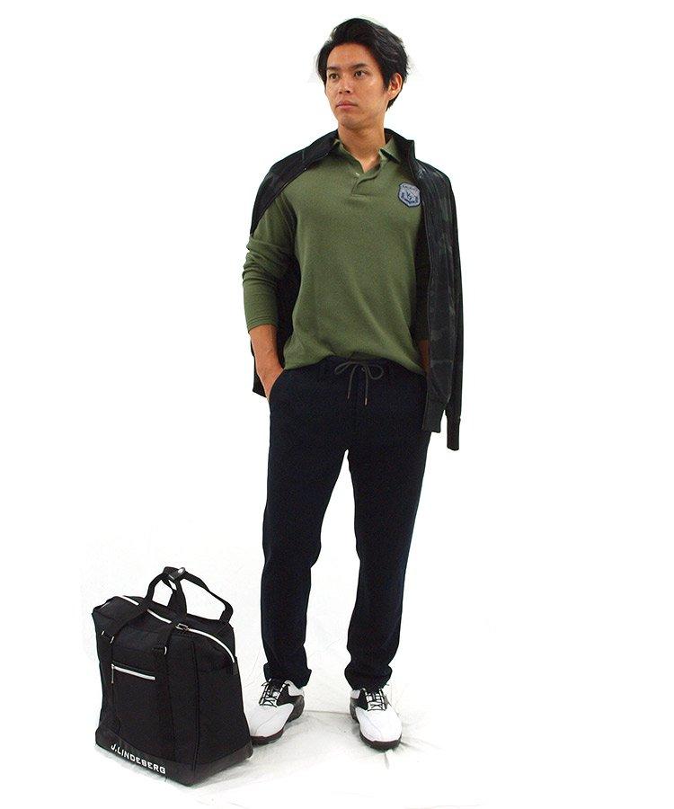 ST 【MOCO】ワッフル素材長袖ポロのコーディネート写真