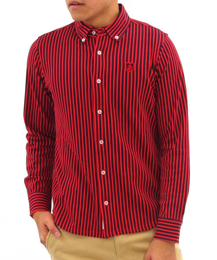 ジャックバニー 長袖ポロシャツ・シャツ JB ストライプボタンダウンシャツ