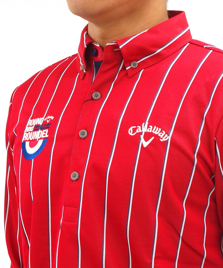 キャロウェイ 長袖ポロシャツ・シャツ CA WARM■レジメンタルストライプシャツ