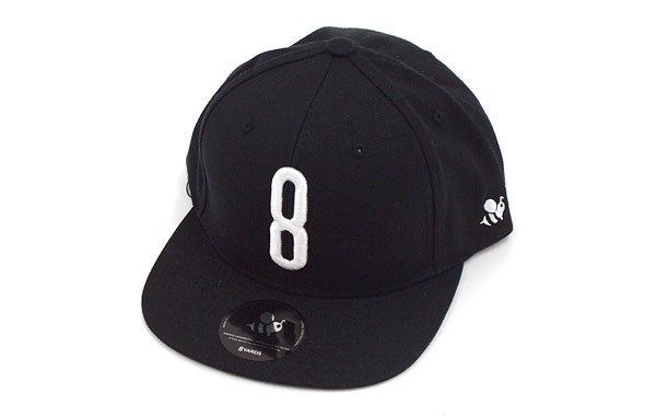 ハチヤーズ YA 「8」ロゴ刺繍♪平つばキャップ(ブラック)