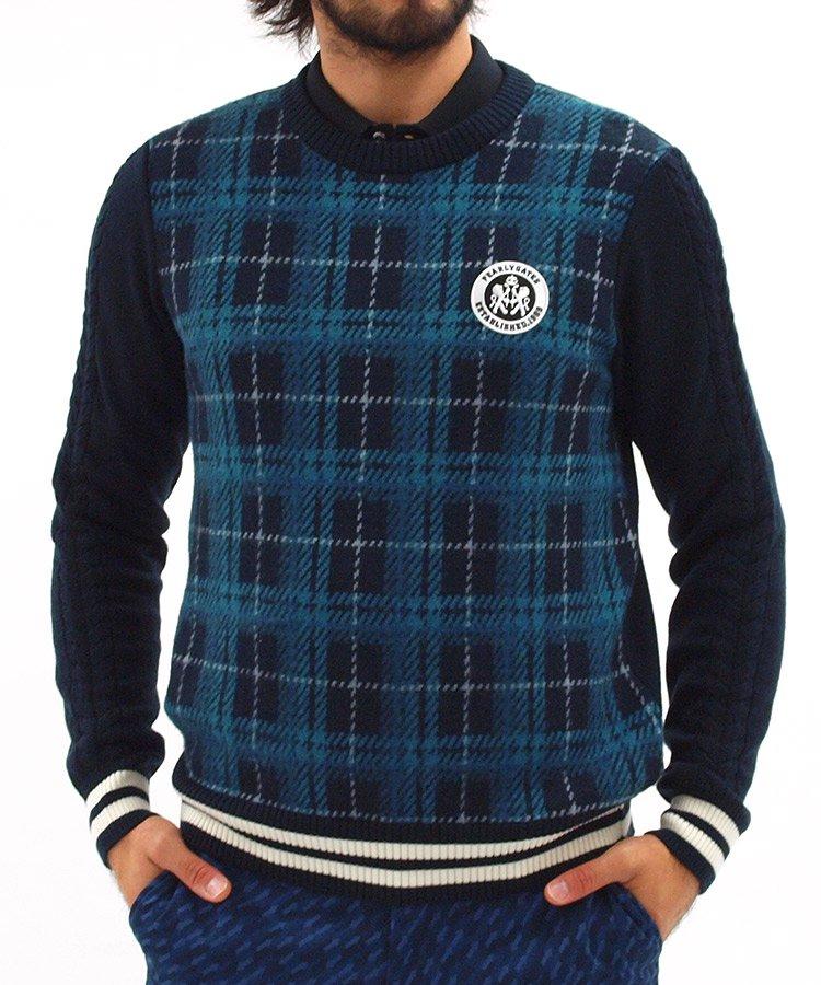 パーリーゲイツ PG ウール100%チェックセーター