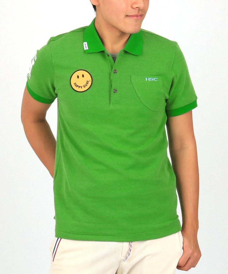 ホーンガーメント 半袖ポロシャツ・シャツ HO Smileワッペン鹿の子ポロ