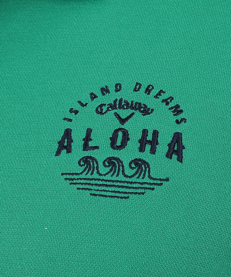 CA 衿裏ALOHAプリントポロのコーディネート写真