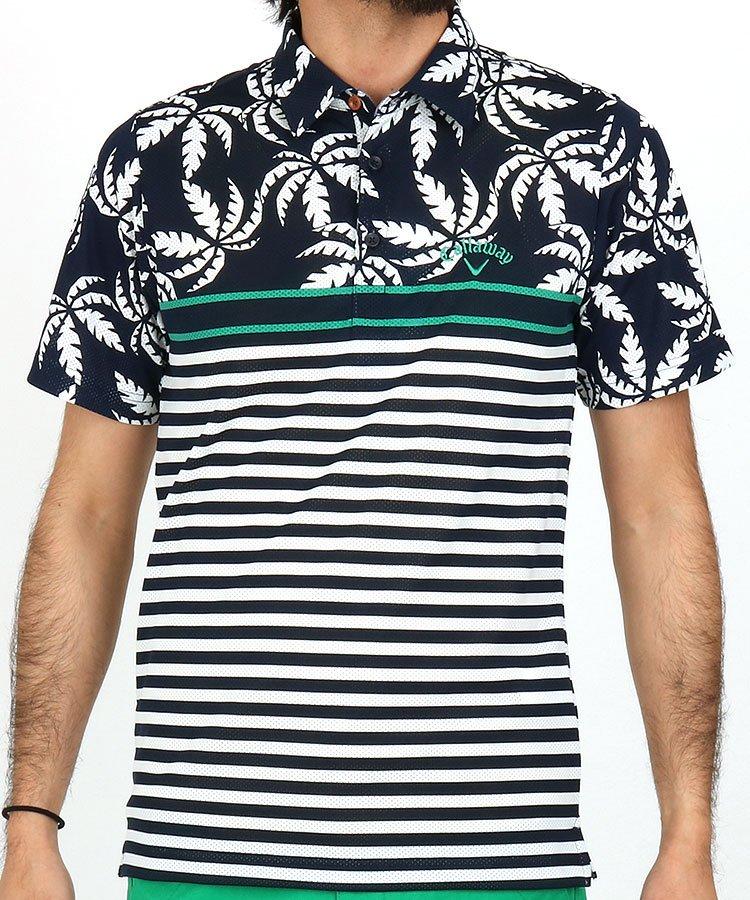 キャロウェイ 半袖ポロシャツ・シャツ CA メッシュで快適★リーフ&ボーダーポロ