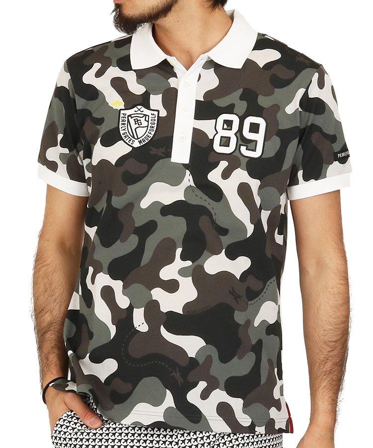 パーリーゲイツ 半袖ポロシャツ・シャツ PG 飛行機カモフラポロ