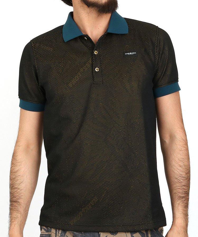 マーク&ロナ 半袖ポロシャツ・シャツ ML 総メッシュパームツリー柄ポロ