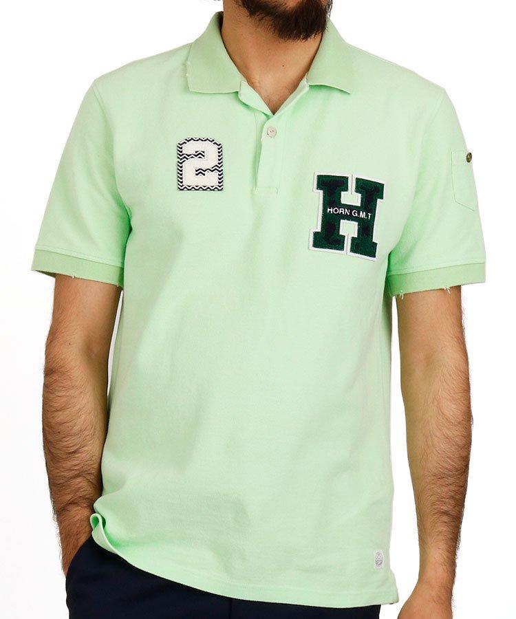 ホーンガーメント 半袖ポロシャツ・シャツ HO BACKペナントデザインポロ