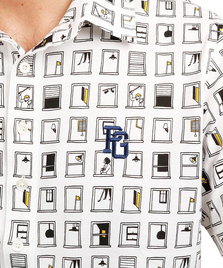 PG ユニーク窓柄プリントポロのコーディネート写真