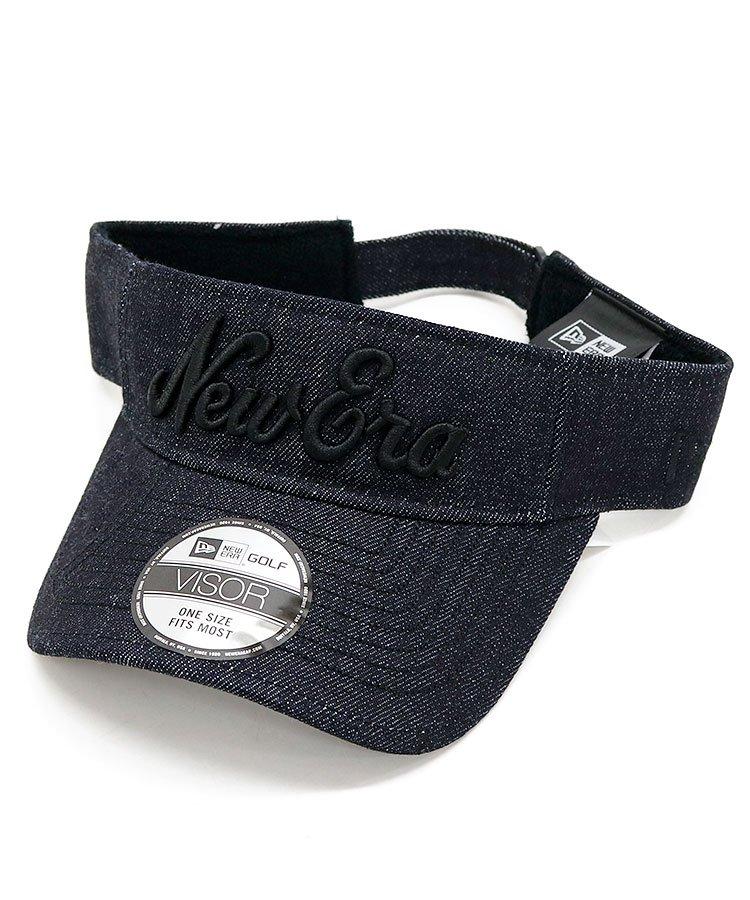 ニューエラ NE 「NewEra」刺繍デニムバイザー(ブラック)