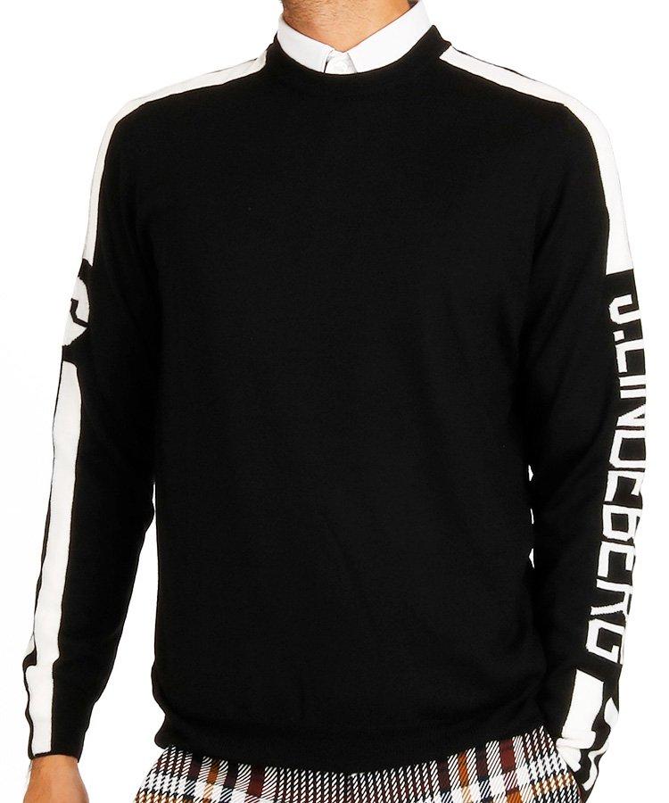 ジェイ・リンドバーグ(J.LINDEBERG) JL スリーブジャガードセーター_ブラック×ホワイト