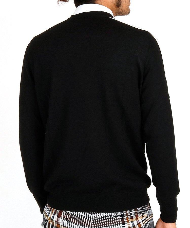 JL スリーブジャガードセーター_ブラック×ホワイトのコーディネート写真