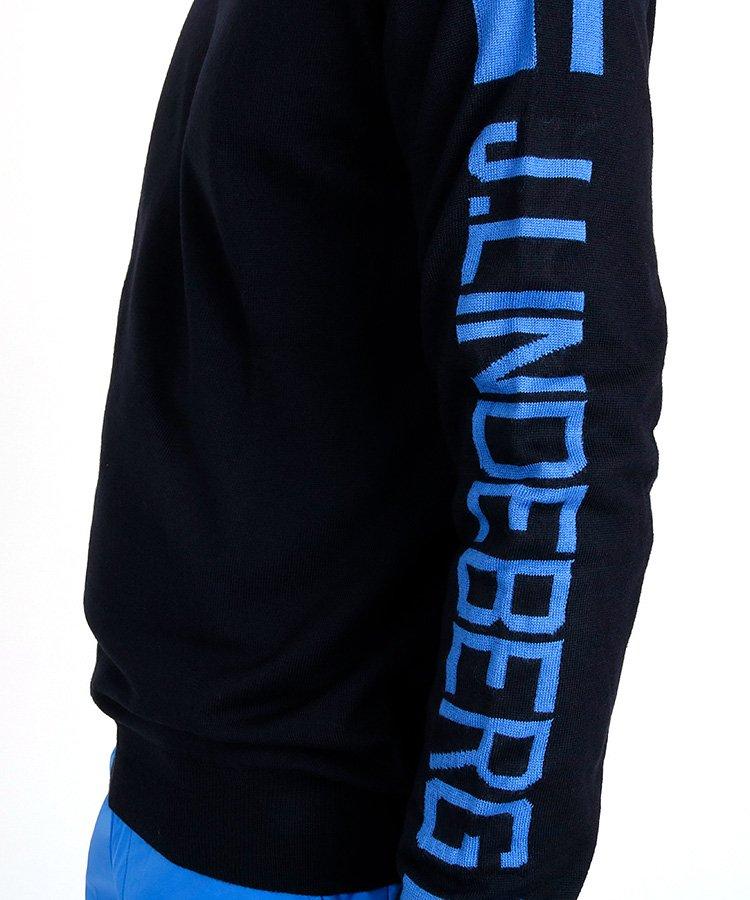 JL スリーブジャガードセーター_ネイビー×ブルーのコーディネート写真
