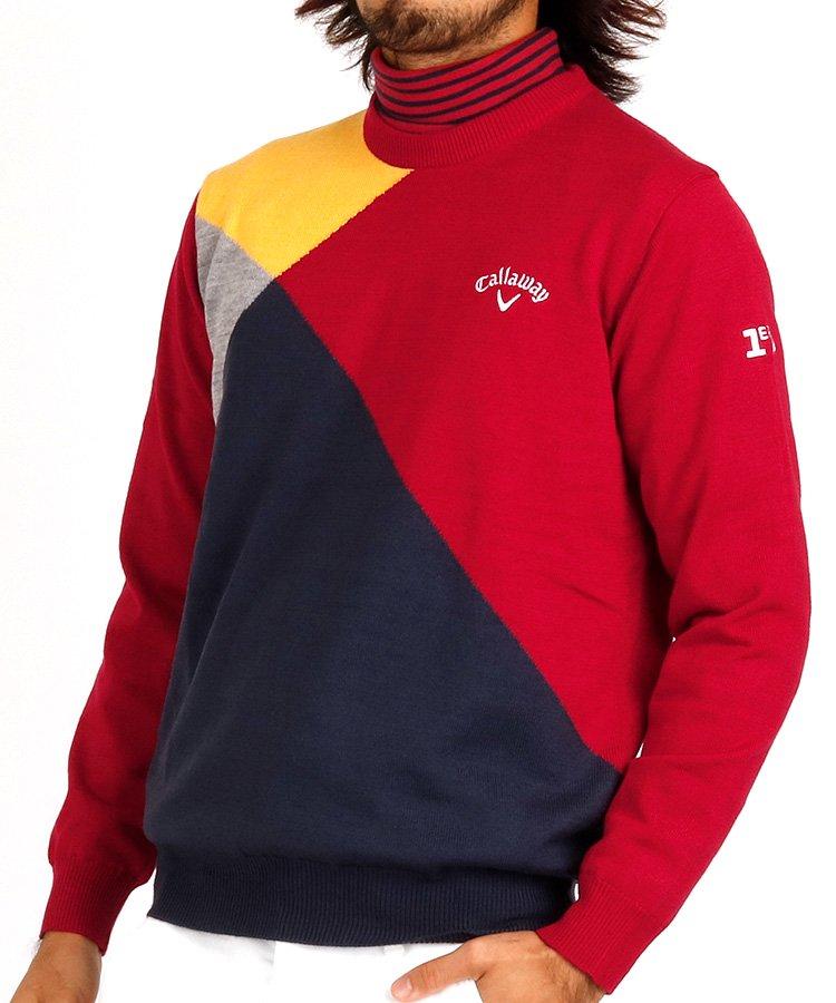 キャロウェイ 18秋冬新作 CA 防風裏地つき♪カラー切替セーター