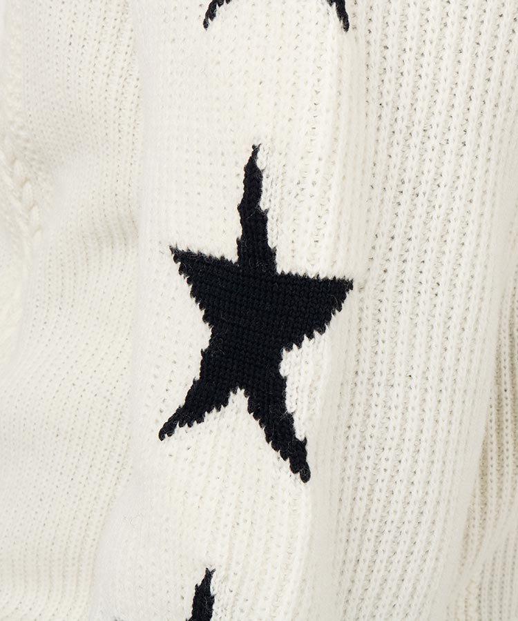 PG STARスリーブ★10Gケーブルニットのコーディネート写真
