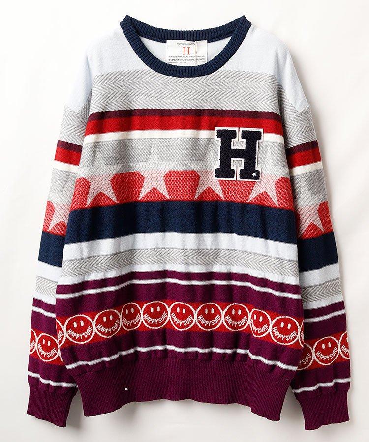 ホーンガーメント 18秋冬新作 HO マルチボーダーニットセーター