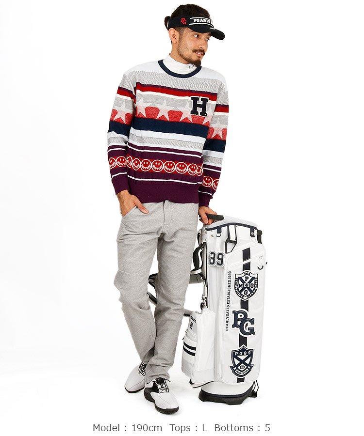 HO マルチボーダーニットセーターのコーディネート写真